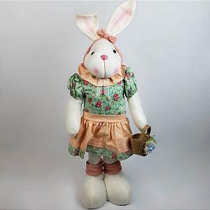 Coelha de pano com vestido verde florido 65cm