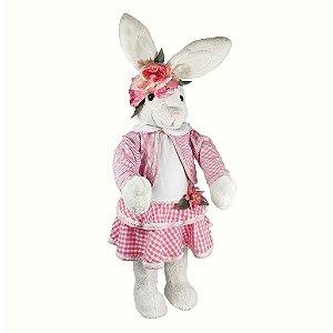 Coelha de Pelúcia  - Branco/Rosa