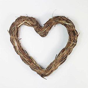 Aro - Guirlanda de palha - Coração - 20cm