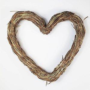Aro - Guirlanda de palha - Coração - 25cm