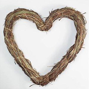 Aro - Guirlanda de palha - Coração - 30cm