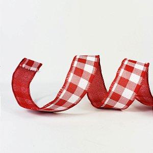 Fita Aramada Xadrez Vermelha - 9mx3,8cm