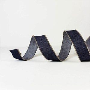 Fita Aramada Azul Jeans c/ Dourado - 10mx3,5cm
