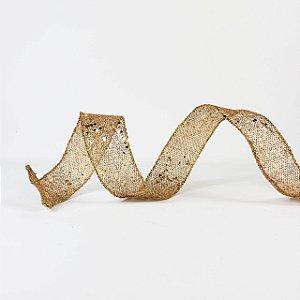 Fita Aramada Telada Dourado c/ Glitter - 9mx3,8cm