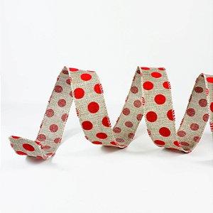 Fita Aramada Cru c/ Poá Vermelho - 9mx3,8cm