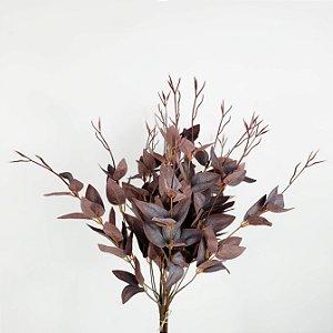 Buquê e Folhas Marsala - 57cm