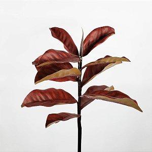 Haste de Folha de Magnólia Vermelho Ferrugem - 70cm