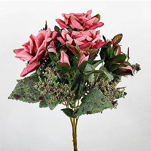 Buquê Rosa Diamante c/ Botões Pink - 31cm