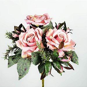 Buquê Rosa Diamante c/ Botões Rosa - 31cm