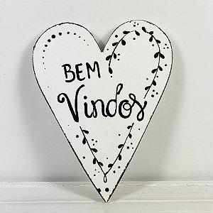 Placa de Madeira Coração Provençal Branca - Bem-Vindos