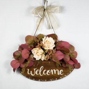 Placa Decorativa Para Porta em Anelina Feita a Mão - Welcome 30x1,5