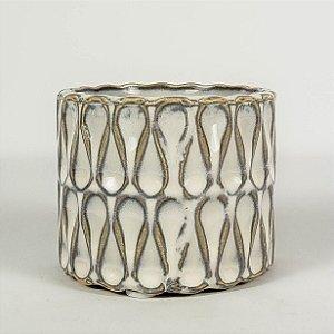 Vaso de Cerâmica Branco c/ Textura - 6cmx6,5cm