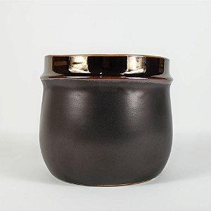 Vaso de Cerâmica Cobre e Grafite - 10cmx12cm