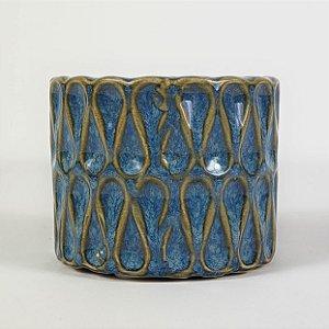 Vaso de Cerâmica Azul c/ Textura - 6cmx6,5cm