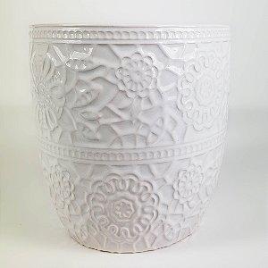 Vaso de Cerâmica Branco c/ Textura Renda - 12x12
