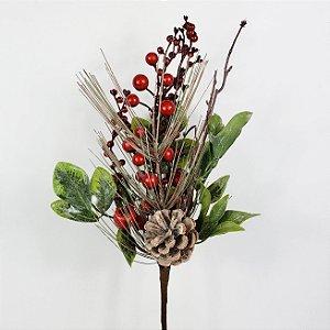 Galho Natalino Pinha, Cereja e Berries - 43cm