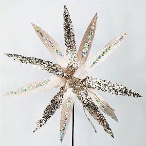 Poinsettia Natalina Veludo c/ Glitter Holográfico - 50cm