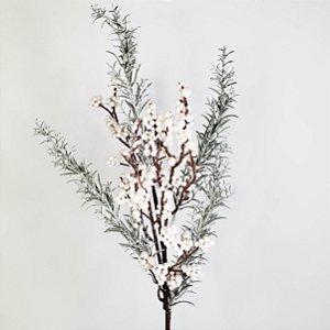 Galho Natalino Floresta Nevado c/ Berries Brancos - 55cm