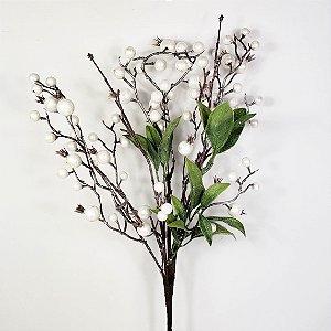 Galho Natalino de Berries Branco Metalizado - 63cm