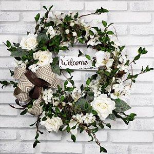 Guirlanda de galhos - Flores Brancas 35cm