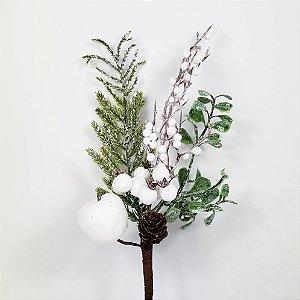 Galho Natalino Nevado Maçã, Pinha & Berries - 30cm