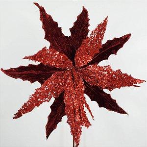 Poinsettia Natalina Vermelha c/ Glitter - 56cm