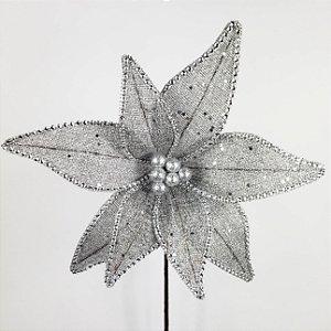 Poinsettia Natalina Telada Prateada - 73cm