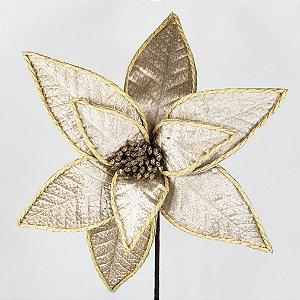 Poinsettia Natalina Veludo Bege - 65cm