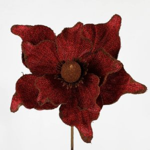 Poinsettia Natalina Fibra Telada Vermelha - 45cm