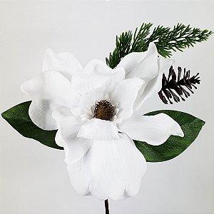 Magnólia Natalina Branca c/ Pinha - 30cm
