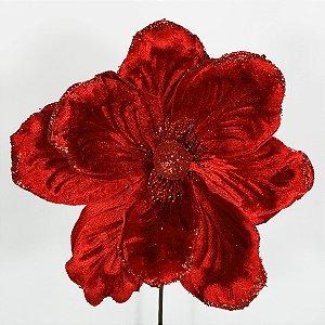 Magnólia Natalina de Veludo Vermelho - 50cm