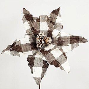 Poinsettia Natalina Xadrez Marrom c/ Pinhas- 40cm