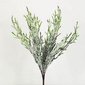 Galho Natalino Nevado Verde - 30cm