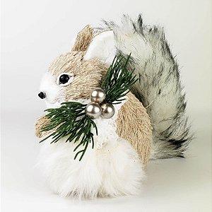 Esquilo Natalino em Pé - 16cm