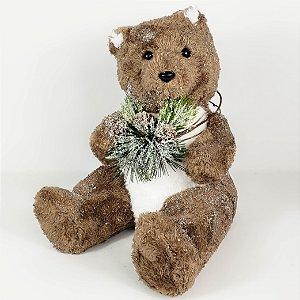 Urso Natalino Marrom Sentado - 29cm