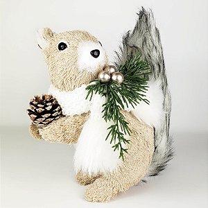 Esquilo Natalino em Pé c/ Pinha - 20cmx20cm