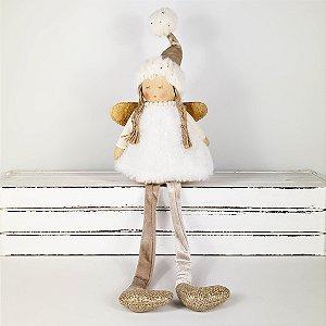 Anjo c/ Vestido de Pelúcia Branco e Dourado - 23cm