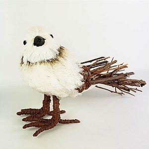 Pássaro Branco Rústico - 11cm