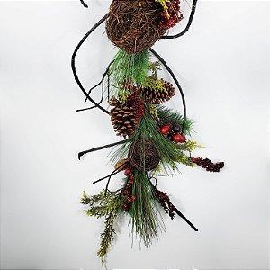 Festão Natalino Decorado c/ Ninhos - 120cm