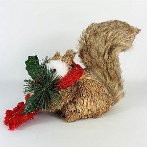 Esquilo Natalino Rústico de Cachecol - 14cm