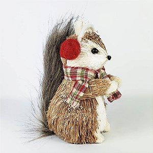 Esquilo em Pé Rústico - 15cm