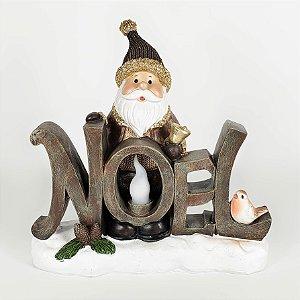 Papai Noel Decorativo c/ Lanterna em Resina - 21cm