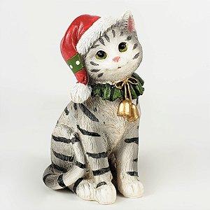 Gato Cinza Listrado Natalino de Resina - 10cm