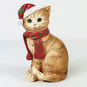 Gato Laranjado Natalino de Resina - 10cm