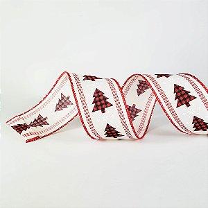 Fita Aramada Vermelha c/ Estampa de Pinheiro - 9m