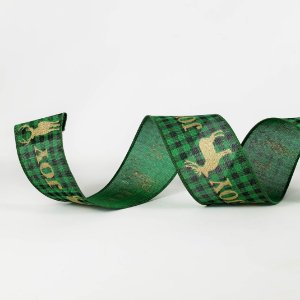 Fita Aramada Xadrez Verde c/ Dourado - 9m