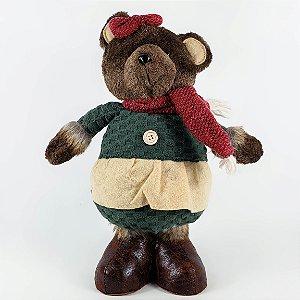 Ursa de Pelúcia c/ Vestido Verde - 35cm