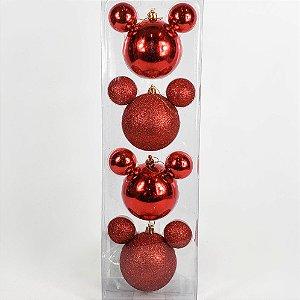 Caixa c/ Bolas Disney Vermelha e Glitter