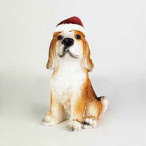 Cachorro Sentado c/ Toca Natalina - 10cm
