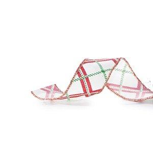 Fita Aramada Branca c/ Listras Vermelhas e Verdes - 9m